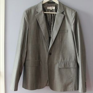 Men's Hopsack Notch Lapel Classic Blazer (GREY)